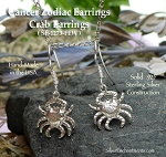 Astrology Earrings, Sterling Silver Crab Earrings, Cancer  Earrings, Zodiac Jewelry