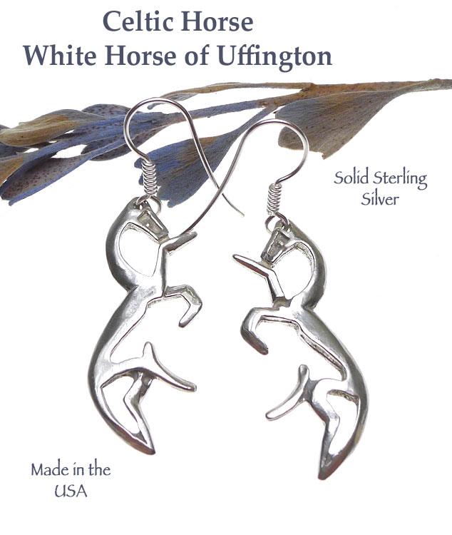 Sterling Silver Celtic Horse Earrings Uffington White