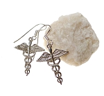 Sterling Silver Caduceus Earrings, Medical Symbol Earrings