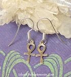 Sterling Silver Ankh Earrings, Small