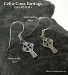 Sterling Silver Celtic Cross Earrings, Traditional Celtic Jewelry