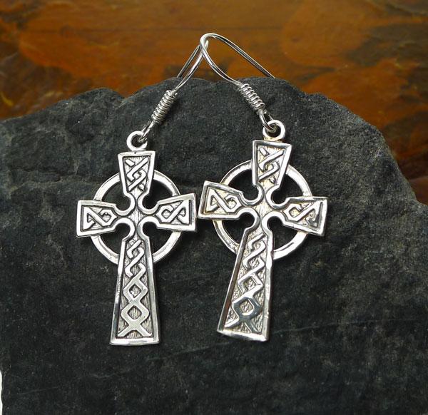 67b556785 Sterling Silver Celtic Cross Earrings, Celtic Cross with Knotwork Earrings