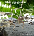 Sterling Silver Saturn Symbol Earrings - Saturn Astrological Glyph Jewelry