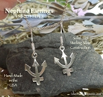 Sterling Silver Neptune Earrings - Astrology Glyph Charm Earrings