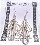 Dangling Teardrop Loops Earrings, Sterling Silver Earrings