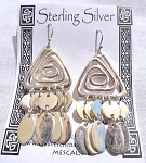 Solid Sterling Silver Pyramid Celtic Spiral Dangle Earrings