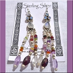 Moonstone Garnet Amethyst Peridot Topaz Quartz Earrings, Sterling Silver and Gemstone Chandelier Earrings