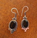 Black Onyx Earrings, Gemstone Bohemian Earrings