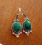 SOLD - Malachite Earrings, Bohemian Gemstone Earrings