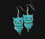 Owl Earrings, Turquoise Owl Earrings, Silver and Stone Owl Dangle Earrings
