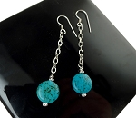 Long Turquoise Earrings with Sterling Silver Earwires, Southwestern Gemstone Earrings