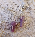 Lepidolite Earrings, Wrapped Wand Earrings