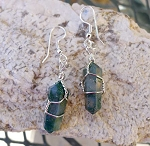 Moss Agate Earrings, Wrapped Wand Earrings