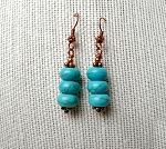 Turquoise Earrings, Copper Wrapped Turquoise Earrings, Turquoise Drop Earrings, Dangle Earrings, Turquoise Jewelry