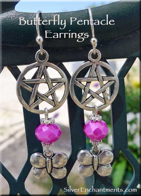 SOLD - Butterfly Pentacle Earrings, Pagan Butterfly Earrings
