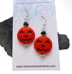 Halloween Earrings, Dangling Jack-o-Lantern Pumpkin Earrings