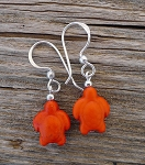 Turtle Earrings, Orange Gemstone Turtle Jewelry, Everyday Silver Earrings