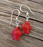 Turtle Earrings, Red Magnesite Turtle Earrings, Everyday Silver Earrings, Red