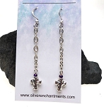 Cross Earrings, Dangling Silver Hammered Cross Earrings with Crystals