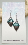 Silver Acorn Earrings with Metallic Green Patina, Acorn Jewelry - Everyday Silver Earrings