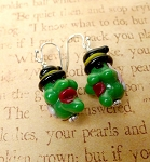 Witch Earrings, Halloween Jewelry, 3D Lampworked Glass Witch Earrings