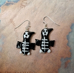 Skeleton Earrings, Halloween Jewelry, 3D Lampworked Glass Funky Halloween Penguin Earrings