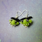 Goblin Earrings, Halloween Jewelry, 3D Lampworked Goblin King Ghoul Earrings