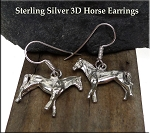 Sterling Silver 3D Double Sided Horse Earrings