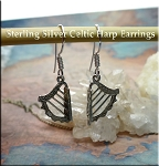 Sterling Silver Celtic Harp Earrings, 3D