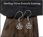 Sterling Silver Pentacle Earrings, Small