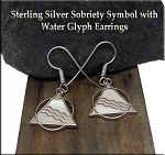 Sterling Silver Alcoholics Anonymous Earrings, Sobriety Recovery Earrings
