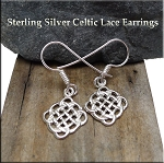 Sterling Silver Celtic Lace Earrings, Celtic Knot Earrings