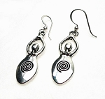 Silver Goddess Earrings, Dangling Spiral Goddess Earrings