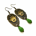 Bronze Evil Eye Earrings with Jade Crystal Drop