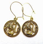 SOLDOUT - Golden Dragon Earrings - Everyday Fantasy Dangle Earrings