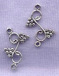 Sterling Silver Fancy Grape Scroll Jewelry Connector Link, 23x14mm