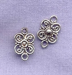 Sterling Silver Scroll Flower Connector Link
