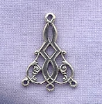 Sterling Silver Chandelier Earring Part with 3 loops 25x17mm
