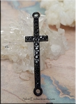 Black Cross Bracelet Connectors with Black Crystals 51x13mm 10 per bag
