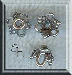 Sterling Silver Grape Cluster Motif Beadcaps 8.5mm (2)