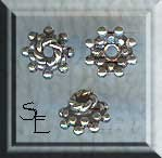 Sterling Silver Snowflake Bead Caps 6mm (10)