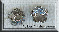 Sterling Silver Fancy Blossom Bead Caps 9mm (2)