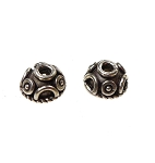 Sterling Silver Fancy Dome Bead Caps, 9mm (2)
