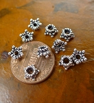 Sterling Silver Star Beadcaps, 6mm Star (10)