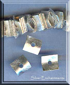 Silver Plated 12mm Bent Square Wafer Spacers, Bulk 10pc