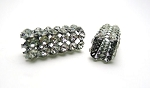 Jet Finish Square Slider Bead with Crystals