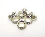 Large Hole Rhinestone Crystal Spacers, 7mm (10)