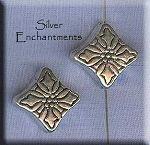 Sterling Silver Snowflake Holly Beads, Christmas Beads (2)