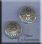 Sterling Silver Celtic Flower Beads, 13mm Puff Coin Beads (2)