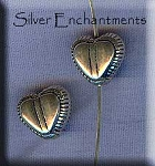 Sterling Silver Puff Heart Beads with Fancy Edge (2)